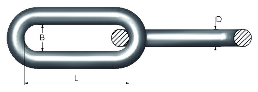Langlenket kjettingfor stillas MBL 8 tonn lengde 1,2 m